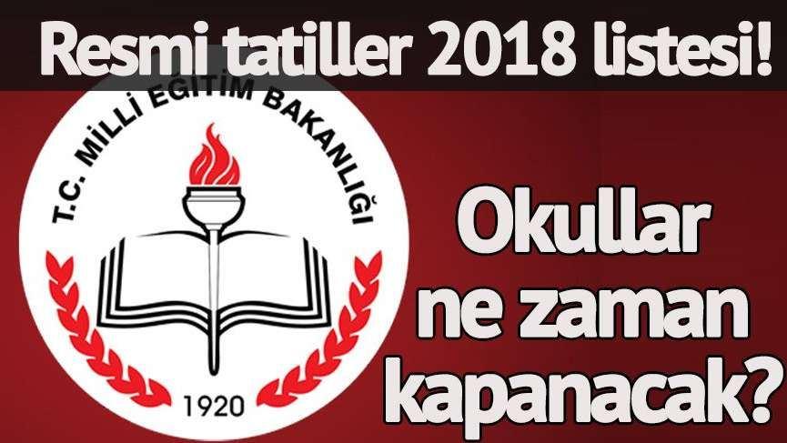 RESMİ TATİLLER 2018
